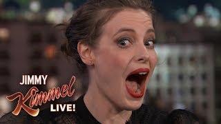 Terrified Gillian Jacobs Gets Her Ears Pierced on Kimmel
