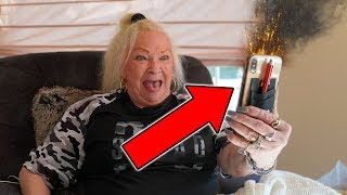 SELF DESTRCUTlNG iPhone Prank On Grandmom