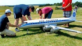 DOUGLAS DC-6B PAN AMERICAN GIGANTIC RC AIRLINER MODEL FLIGHT DEMONSTRATION / RC Airliner Show 2015