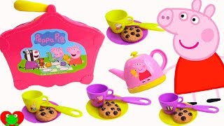 Toy Learning Video For Toddlers Peppa Pig's Tea Party and Chocolate Chip Cookies