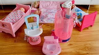 Baby Born Dolls Rain Fun shower and Wash Basin Unboxing Set up Pretend Play with 4 Baby Dolls