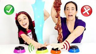 NÃO APERTE O BOTÃO ERRADO DE SLIME!★ Desafio de slime sabotado com a Mamãe (WRONG BUTTON CHALLENGE)