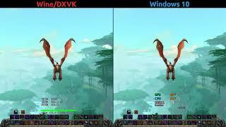 Benchmark WoW BfA - Wine/DXVK vs Windows 10