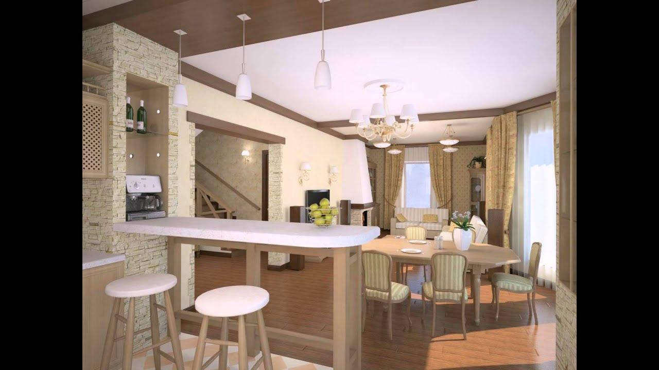 Дизайн совмещенной кухни и зала