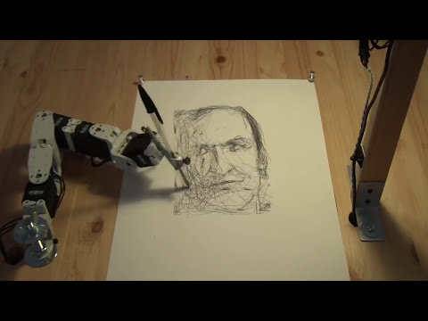 Paul the robot drawing Patrick