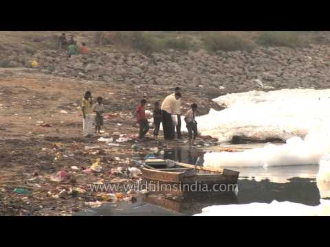 Toxic waste and other dangerous pollutants dumped into the Yamuna in Delhi