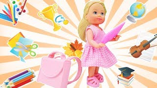 Barbie and baby doll. Back to school. Kids' video.