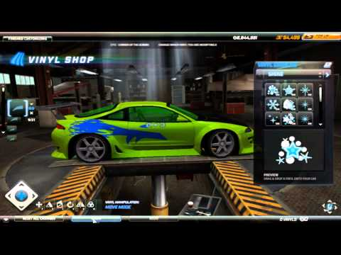 Need for Speed World: Mitsubishi Eclipse Fast & Furious Vinyl Tutorial