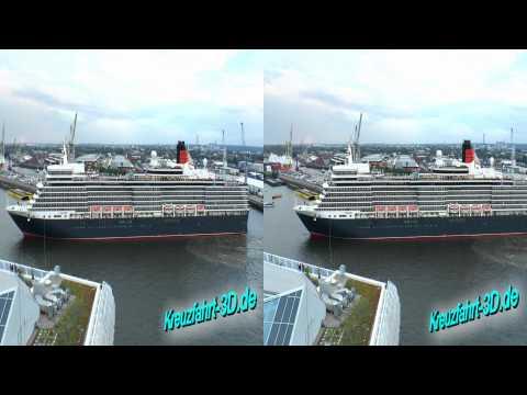 3D-Video (Echtzeit): Queen Elizabeth Fahrt Hamburg Altona nach Hafencity zum Feuerwerk Cunard Day