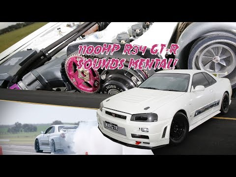 Mental 1100whp R34 Skyline GT-R dominates Runway Thrash - Into the 8s with a manual!