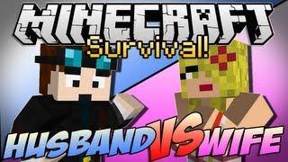 """Minecraft   HUSBAND vs WIFE SURVIVAL!   Episode 1 """"Chicken Showdown"""""""
