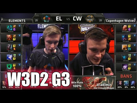Elements vs Copenhagen Wolves | S5 EU LCS Summer 2015 Week 3 Day 2 | EL vs CW W3D2 G3 Round 1