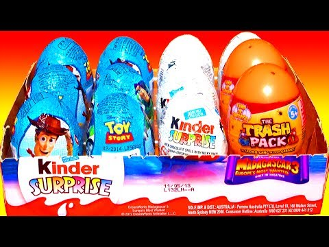 12 Surprise Eggs Toy Story Kinder Surprise Eggs Unboxing Disney Pixar Easter Madagascar 3 Trash Pack video