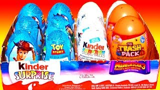 12 Surprise Eggs Unboxing Kinder Surprise Disney Pixar Toy Story Madagascar 3 Trash-Pack Easter Eggs