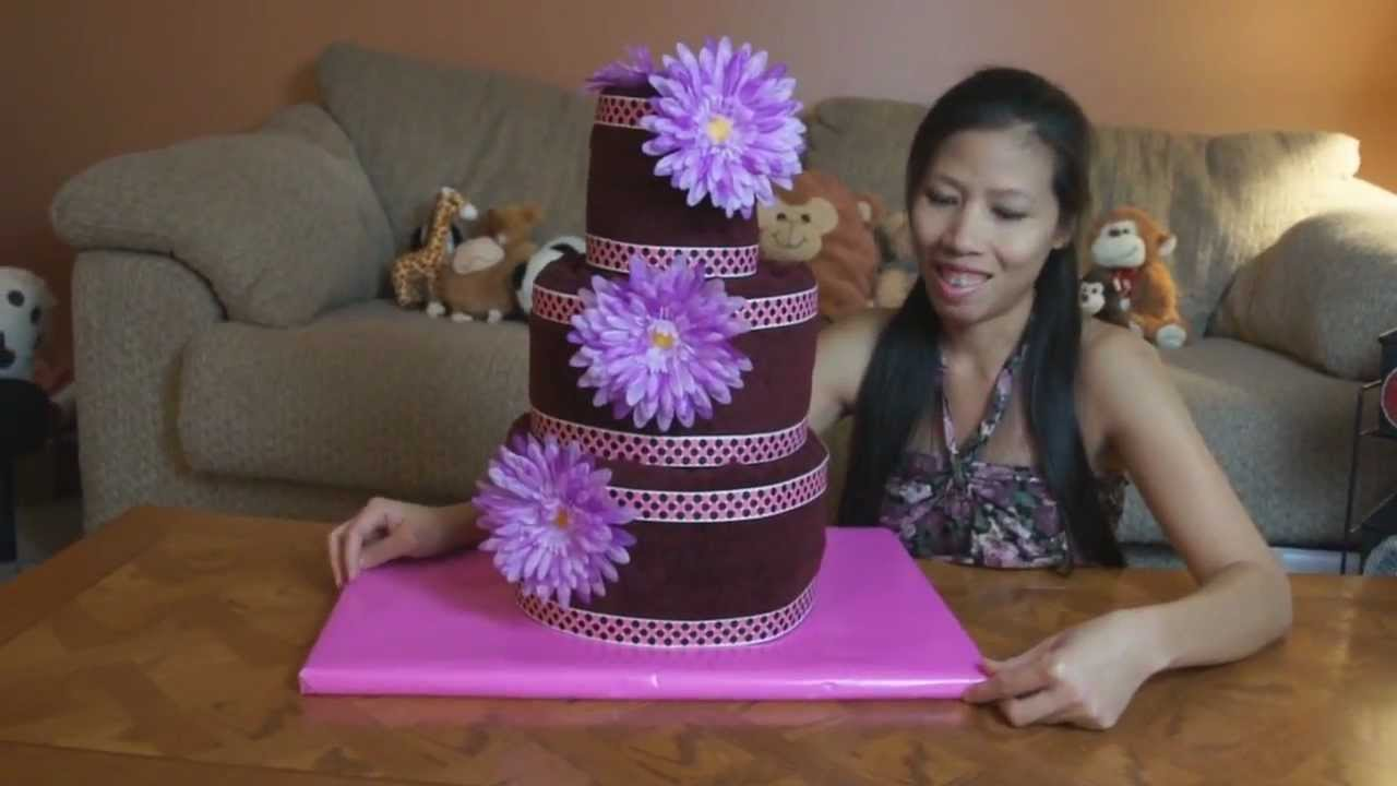 How To Make A Kitchen Towel Cake For Bridal Shower