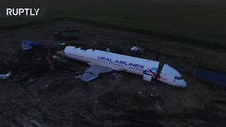 Drone footage reveals Russian plane disassembly after emergency cornfield landing