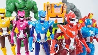 Miniforce X New Action Figure Avengers Captain America Spider-man Iron Man Power Rangers