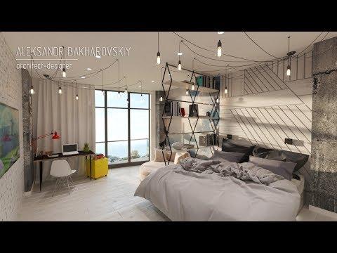 Дизайн в стиле лофт комната подростка