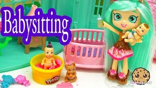 Peppa Mint Shopkins Shoppies Doll Babysits 3 Babies with Color Change - Cookieswirlc Video
