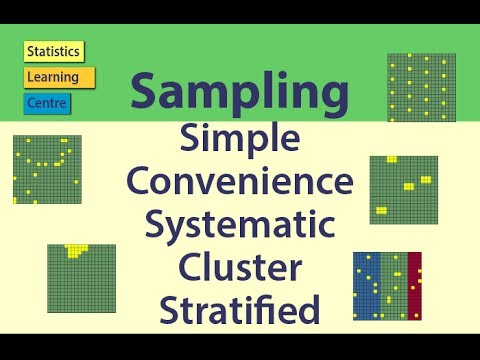 Sampling: Simple Random, Convenience, Systematic, Cluster, Stratified - Statistics Help video
