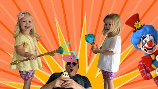 Emma and Ella having fun with daddy and funny costumes   Pretend Play with Pizza