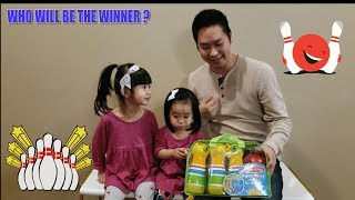 Bowling Challenge Daughters vs Daddy | Kids Fun Time