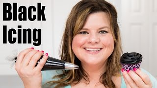 How to Make Black Icing / Black Buttercream Recipe for Cake Decorating: Tutorial from Jenn Johns