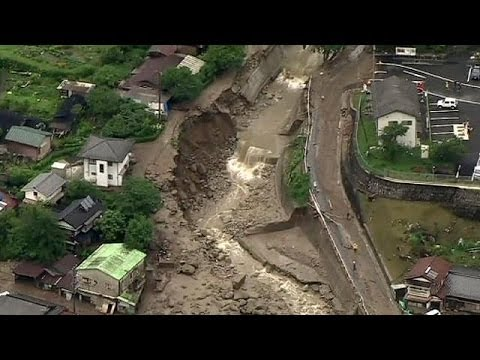 Caught on camera: Typhoon Neoguri causes deadly landslide in Japan