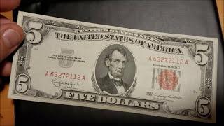 1928 1953 1963 Red Seal $5 Bill