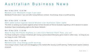 Business News Headlines for 19 Nov 2018 - 1 PM Edition