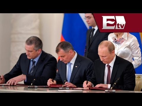 Vladimir Putin firma tratado para incorporar Crimea a Rusia/ Titulares de la tarde