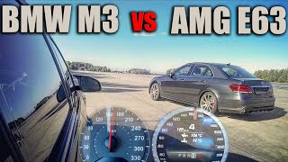 Mercedes E63 AMG vs BMW M3 Competition - Acceleration -  DRAG and ROLLING RACE