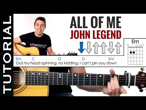 Como tocar ALL OF ME de John Legend en guitarra acústica Tutorial MUY FACIL