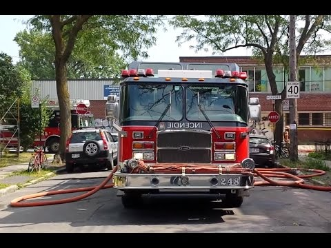 Fire trucks SIM 19x on-scene including the command post 1005 - Montreal Fire department