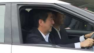 Japan's Prime Minister Shinzo Abe Test Drives Toyota Hydrogen Fuel Cell Vehicle