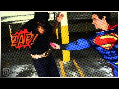 Batman vs. Superman Skateboard Battle w/ Tasers