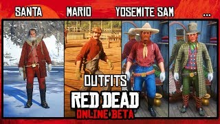 Red Dead Redemption 2 online. SANTA, MARIO, YOSEMITE SAM inspired outfits.