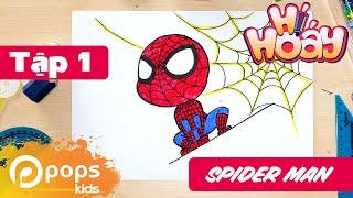 Hướng Dẫn Vẽ Spider Man - Tập 1 - Hí Hoáy - How To Draw Spider Man