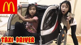 Pretend Play McDonalds Drive Thru with Taxi Driver Power Wheels Ride on Car