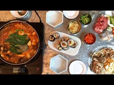 Kimchi Casserole , Kinpa and Namul キムチ鍋とキンパ(韓国風のり巻き)と三色ナムル【TODAY's TABLE】 Oct 19, 2014