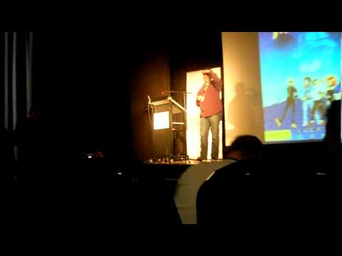 Ron Gilbert talks about the Chainsaw VS Gas thing in Maniac Mansion (@Game Forum Germany 2011)