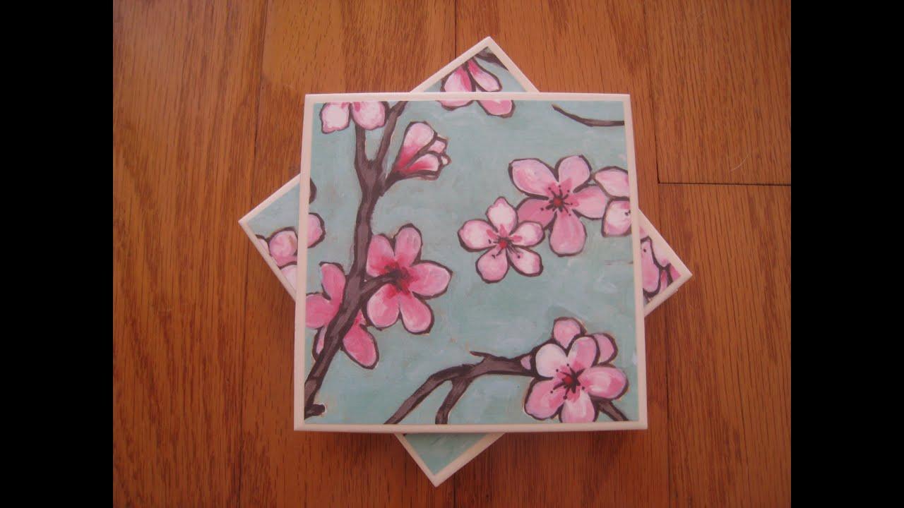 How to make a ceramic tile coaster set youtube for Ceramic tile craft ideas