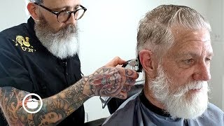 Master Barber Transforms the Father of Beardbrand (Eric Bandholz's Dad) | Beardbrand Studio