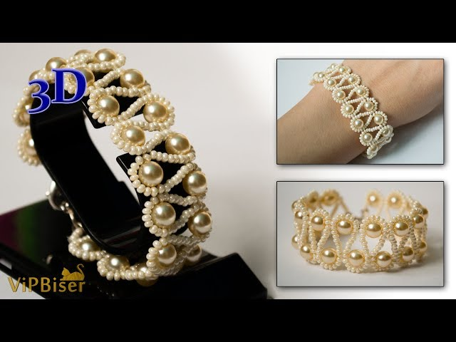 Beaded Bracelet with Pearls. 3D Beading Tutorial