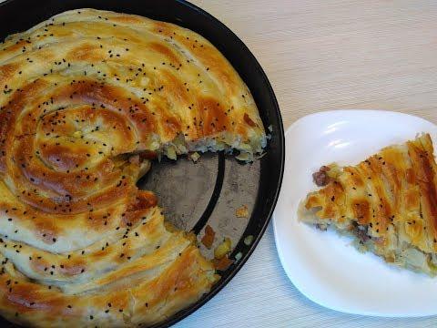 Слоеный пирог с картошкой и мясом!! вкусные не бывает Puff pie with potatoes and meat