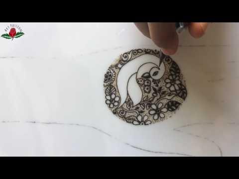 simple mehendi chapter 31 : stylish peacock mandala with netting borders in mehendi design