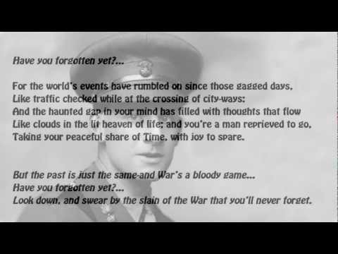does it matter by siegfried sassoon essay Thousands upon thousands of young men and boys rushed to the front line to fight for their country feeling it was their honorary duty and would have been shunned if they did not, in what was called, 'the great and glorious war', which is so very ironic need essay sample on what attitudes to world war.
