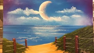 How to paint a moon over the ocean