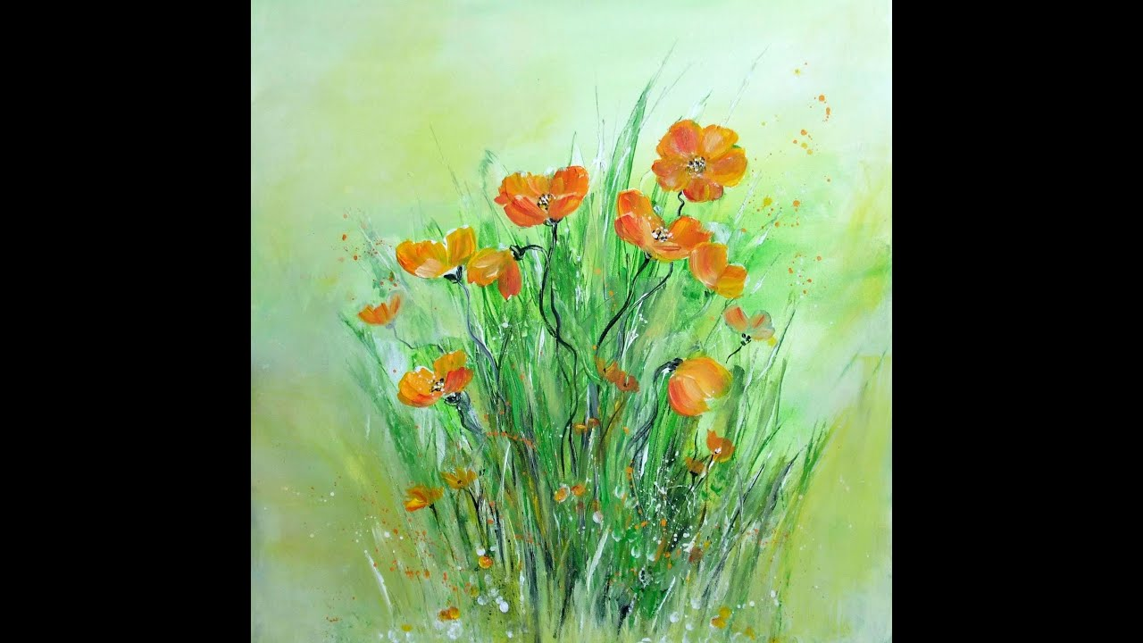 Acrylmalerei Fuer Anfaenger Blumen Painting For Beginners Flowers