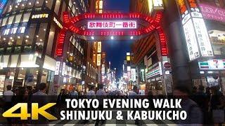 Walking in Tokyo - Shinjuku and Kabukicho during blue hour - 4K